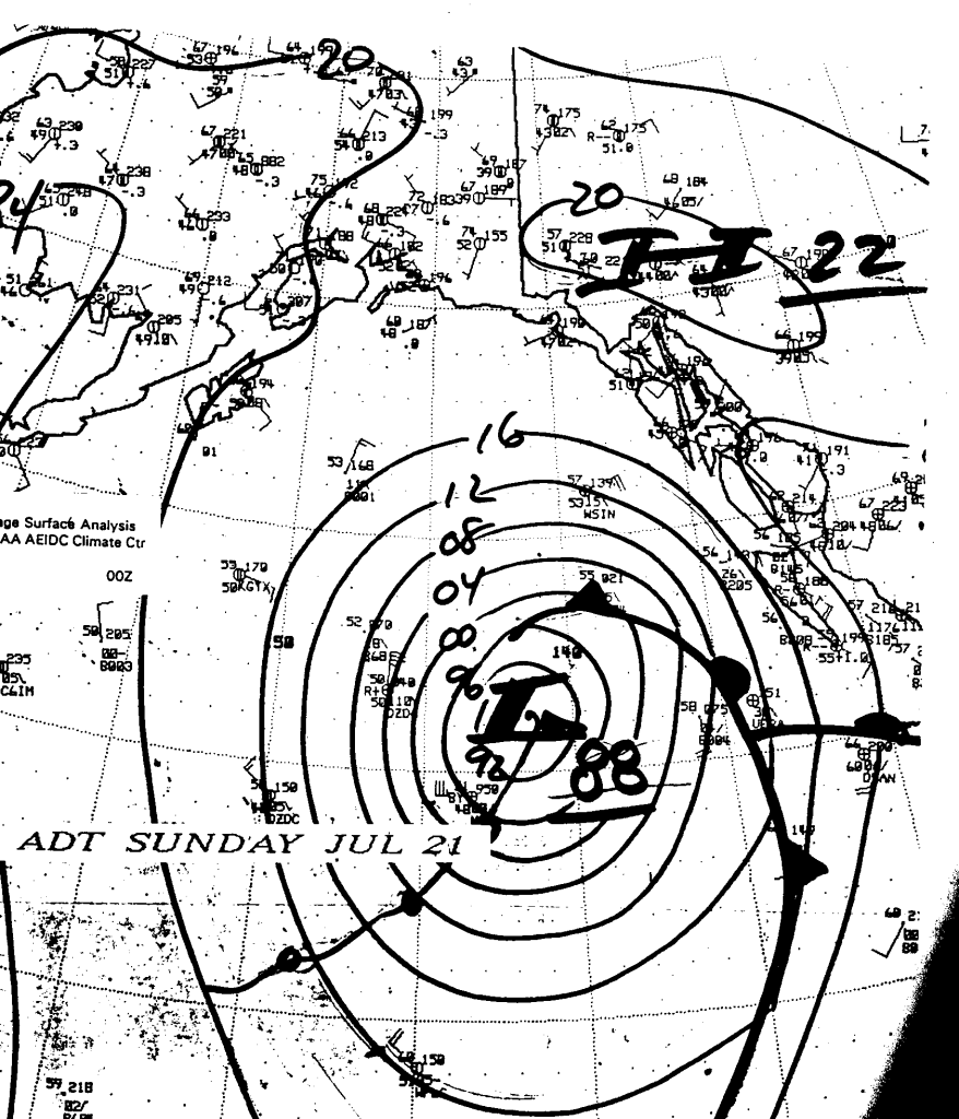 "Surface analysis chart of the Gulf of Alaska for Sunday 21 July 1991, showing the Aleutian Islands on the upper left, Alaska and Canada on the upper right, and Vancouver Island on the right. Catherine Estelle's position at this time was 53° 15' 42"" North, 142° 36' 09"" West, which would place her right in the center of the LOW. Note the 2200 mb HIGH to the north. (Courtesy of University of Alaska)."