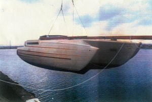 Amenity of San Diego (File S/T-20). She is one of the early Horstman Tristars on which Messrs. Casanova, Habersetzer and others pioneered the use of large parachute sea anchors for multihulls. Her lines are similar to those of Tortuga Too in File S/T-1. (Gary Habersetzer photo).