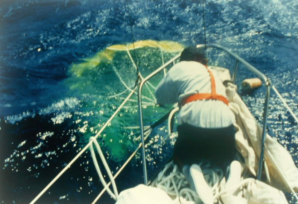 Snubbing the parachute so that it fills. At this stage it is then gradually paid out as the boat drifts downwind from the inflated canopy.