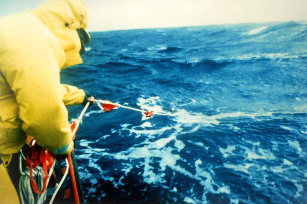 Taken in the waters off Punta Arenas, Chile. Mark Eichenberger test-deploying the Jordan series drogue supplied by Victor Shane of Ned Gillete's Antarctic row - see File S/R-1 (Ned Gillete photo)